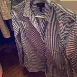 Jcrew bee broach striped button up